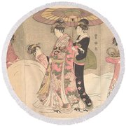 Utagawa Toyokuni I    Courtesans And Attendants Playing In The Snow Round Beach Towel