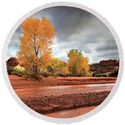 Utah Desert Wash Round Beach Towel