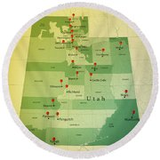 Utah Map Square Cities Straight Pin Vintage Round Beach Towel