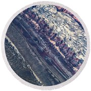 Utah Mountains High Altitiude Aerial Photo Round Beach Towel
