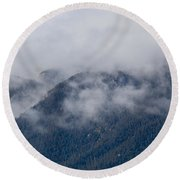 Ute Pass As Storm Clouds And Fog Roll In  Round Beach Towel