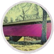 Utica Mills Covered Bridge Round Beach Towel