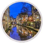 Utrecht From The Bridge By Night Round Beach Towel