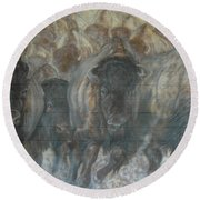 Uttc Buffalo Mural Right Panel Round Beach Towel