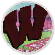 Uw Game Day Poster - Oil Round Beach Towel