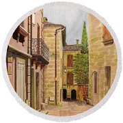 Uzes, South Of France Round Beach Towel