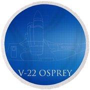 V-22 Osprey Blueprint Round Beach Towel