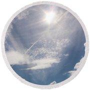 V Cloud Under The Sun  Round Beach Towel