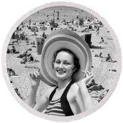 Vacation Montage, C.1930s Round Beach Towel