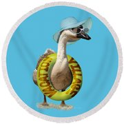 Vacation Time For Summer Goose Round Beach Towel