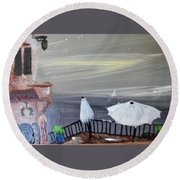 Vacation Time  Round Beach Towel