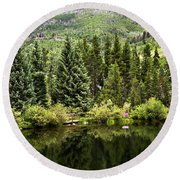 Vail Reflections In The Summer Round Beach Towel