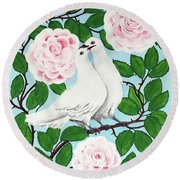 Valentine Doves Round Beach Towel