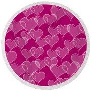 Valentine Hearts Pattern Round Beach Towel