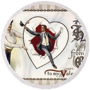 Valentines Day Card, 1909 Round Beach Towel