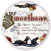 Valentines Day Card, 1910 Round Beach Towel