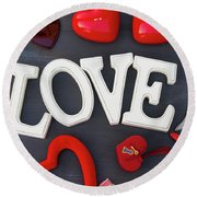 Valentines Day Hearts Round Beach Towel
