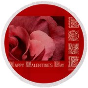 Valentines Day Love Round Beach Towel