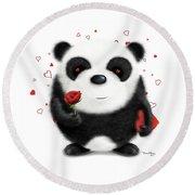 Valentine's Panda Round Beach Towel