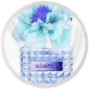 Valentino Blue Perfume Round Beach Towel