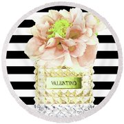 Valentino Perfume With Flower Round Beach Towel