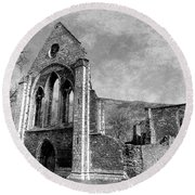 Valle Crucis Abbey Monochrome Round Beach Towel