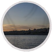 Valletta Malta Magic Hour Skyline Round Beach Towel