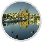 Valletta Reflected  Round Beach Towel