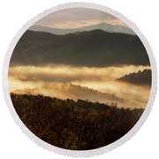 Valley Fog At Sunrise Two Round Beach Towel