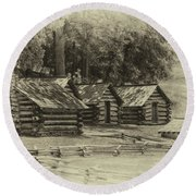 Valley Forge Barracks In Sepia Round Beach Towel