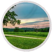 Valley Forge Sunset Round Beach Towel