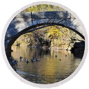 Valley Green Bridge Round Beach Towel by Bill Cannon