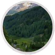 Valley In The French Alps Round Beach Towel