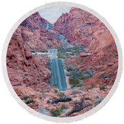 Valley Of Fire Drive Round Beach Towel