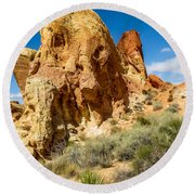Valley Of Fire - Face In The Rock Round Beach Towel