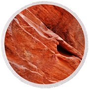 Valley Of Fire Mouse's Tank Sandstone Wall Portrait Round Beach Towel