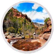 Valley Of Life Round Beach Towel