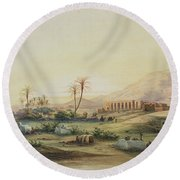 Valley Of The Nile With The Ruins Of The Temple Of Seti I Round Beach Towel by Prosper Georges Antoine Marilhat