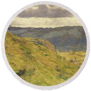Valley Of The Teme, A Sunny November Morning Round Beach Towel