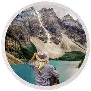 Valley Of The Ten Peaks Round Beach Towel by Rod Sterling