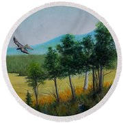 Valley View From Up The Hill Round Beach Towel