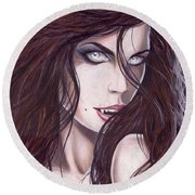 Vampiress Round Beach Towel