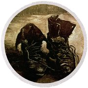 Van Gogh Boots 1886 Round Beach Towel