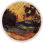 Van Gogh: Castle, 1890 Round Beach Towel