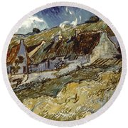 Van Gogh: Cottages, 1890 Round Beach Towel
