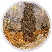 Van Gogh: Cypresses, 1889 Round Beach Towel