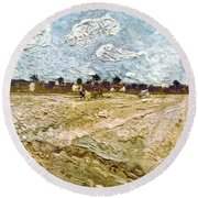 Van Gogh: Fields, 1888 Round Beach Towel