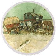 Van Gogh: Gypsies, 1888 Round Beach Towel