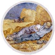 Van Gogh: Noon Nap, 1889-90 Round Beach Towel