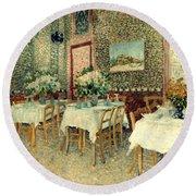 Van Gogh: Restaurant, 1887 Round Beach Towel